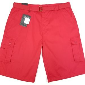 Urban Label Mens 46 Red Twill Cargo Shorts w/Belt